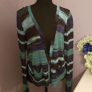 BCBG Maxazria cardi in Navy Blue, Green and Black